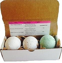 ! ORGANIC BATH BOMB SET OF 3! Tea Tree & Benz, Eucalyptus & Flax & Mint Chip with Wakame Organic Bath Bomb By Soapie Shoppe
