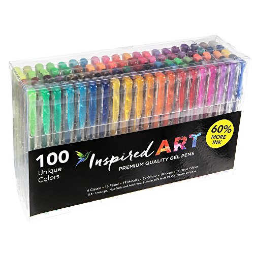 Inspired Art Gel Pen Set, XXL Pack (100 Unique Colors) (Pilot Tray Liner compare prices)