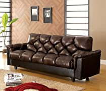 Hot Sale Furniture of America Montclaire Leather-Vinyl Storage Futon/Sofabed, Dark Brown