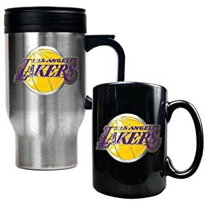 NBA Los Angeles Lakers Stainless Steel Travel Mug & Black Ceramic Mug Set -... by Great American Products