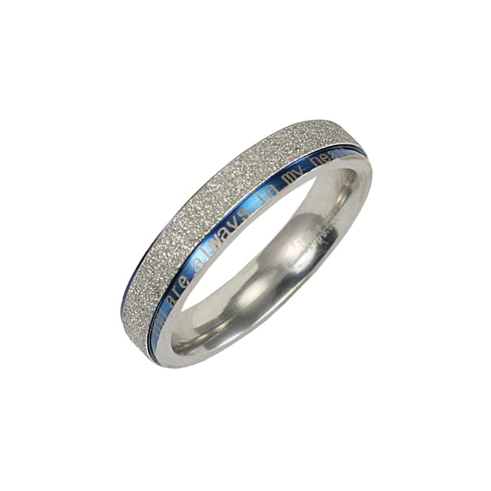 Stainless Steel Blue and Sparkle Silver You are always in my heart 4mm Band Ring   Women (Size 6)