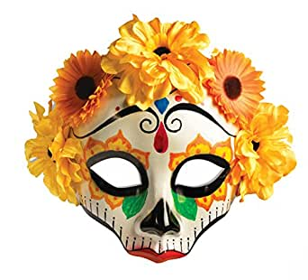 Day Of The Dead Yellow Flowered Skull Mask Female 74716
