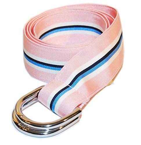 Polo Ralph Lauren Mens Grosgrain Ribbon D-Ring Belt Pink Blue Navy Usa Small