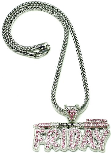 Pink Friday Nicki Minaj Necklace Silver and Pink Pendant Necklace