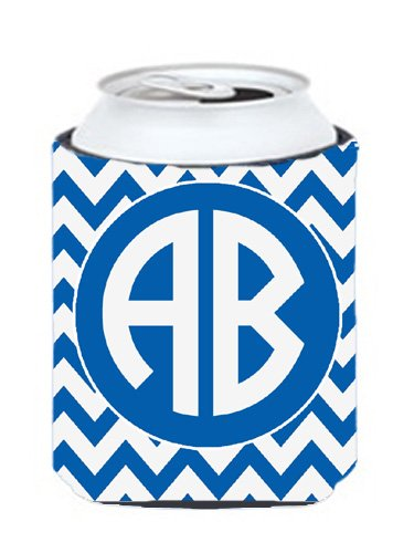 Chevron Blue And White For Kansas Personalized Can Or Bottle Hugger