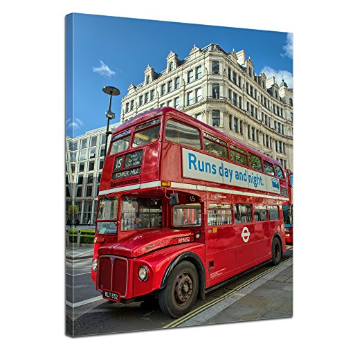 "Bilderdepot24 Leinwandbild ""Roter Doppeldeckerbus London"" - 50x70 cm 1 teilig - fertig gerahmt, direkt vom Hersteller"