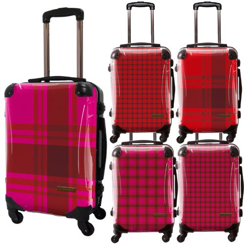 カラーチェックモダンスーツケース/ベーシック/フレーム4輪/TSAロック/機内持込可能/キャラート/ギンガムチェック/ピンク レッド/CRA01-023KT