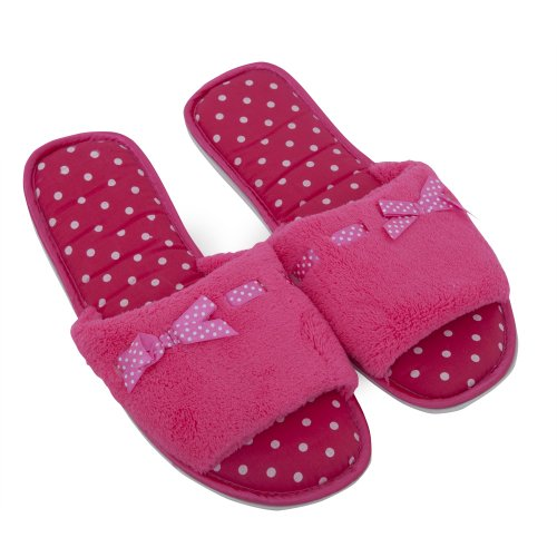 Cheap Ladies/Womens Slip-On Open Toe Spot Design Indoor Footwear/Slippers with Bow (B009BFOQJQ)