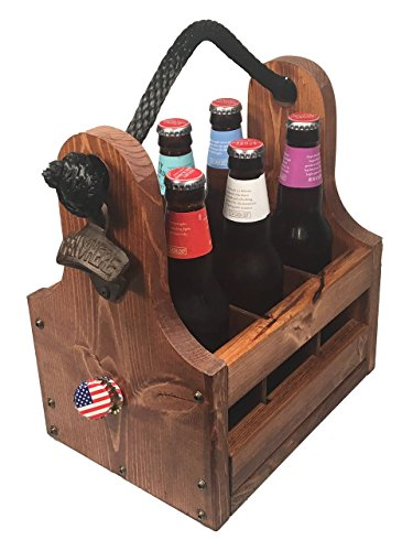 Wood Beer Caddy with Bottle Opener & Magnetic Cap Catch, 6-Pack with Removable Dividers Personalizable Gifts for Groomsmen, Craft Beer Fans, Brewers and more (Wooden Bottle Opener Magnetic compare prices)