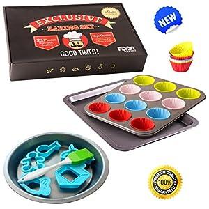 Premium Nonstick 21 Pcs Bakeware Set - Professional Baking Sheet, Pans, Cups, Supplies - Free Ebook