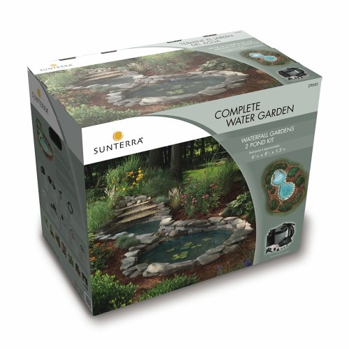 Sunterra 370012 Sunterra Waterfall Gardens Complete Pond Kit Two Ponds With Waterfall