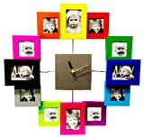 Designer Habitat - Family Time Photo Frame Clock Brushed Aluminium Multi Colour, Holds 12 Photos