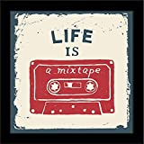 ArtzFolio Life Is A Mixtape - Mini Size 9.0 Inch X 9.0 Inch - PREMIUM CANVAS Wall Paintings With BLACK FRAME : DIGITAL PRINT Wall Posters Art Panel Like Hand Paintings : Home Interior Wall Décor Photo Gifts & Decorative Paintings For Bedroom, L