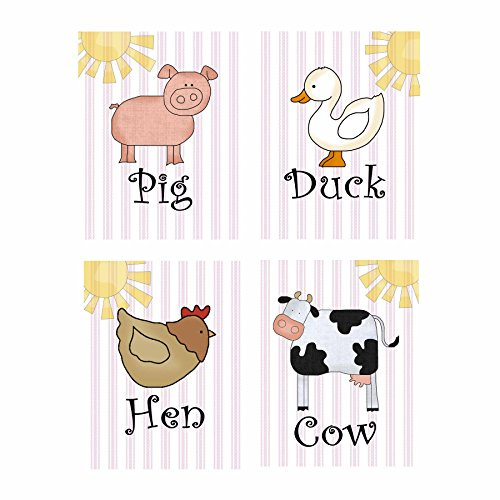 "Child's Bedroom Nursery Wall Art - Set of 4 Decorative Prints: FARM ANIMALS (DR185) (8"" by 10"" (set of 4)) - 1"