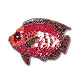 Sequined and Beaded Fish Coin Purse in FUSCHIA