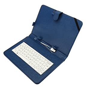 10.1 Inch Folio Artificial Leather Tablet Protector Case Cover Keyboard Case for Universal Android Tablet PC (Blue)