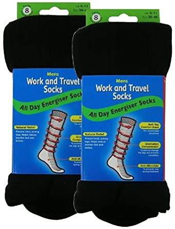 2 Pairs Mens Work and Travel Socks 6 - 11 Black