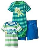 Gerber Baby-Boys Infant 3 Piece Bodysuit Shirt Short Set