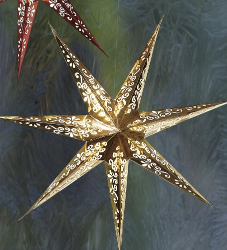 Led Paper Star Lantern, In Gold