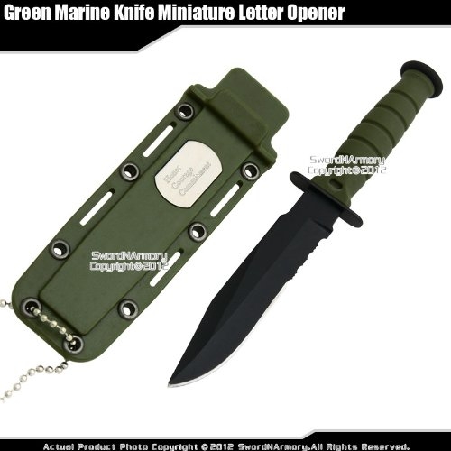 Green Small Marine Combat Knife Letter Opener Fixed Blade Dagger w/ Sheath Chain