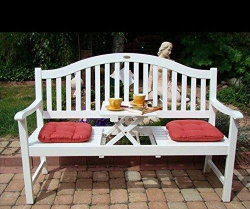 Dekorative Gartenbank mit ausklappbarem Tisch – 3 Sitzer günstig