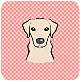 "Caroline's Treasures BB1222FC Checkerboard Pink Yellow Labrador Foam Coaster (Set Of 4), 3.5"" H X 3.5"" W, Multicolor"