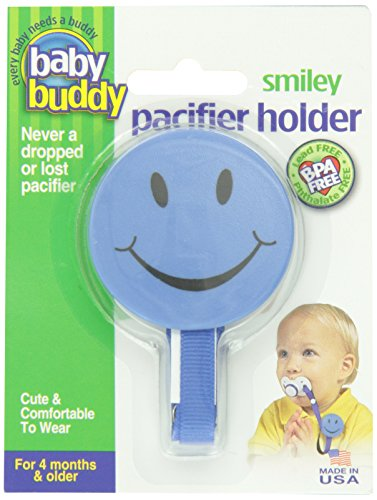 Baby Buddy Smiley Pacifier Holder, Blue