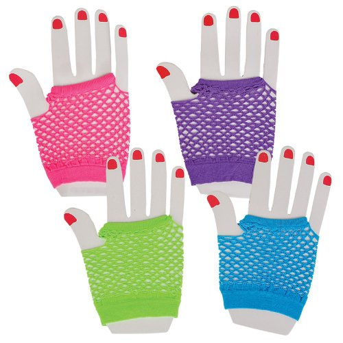 Assorted Fingerless Diva Fishnet Wrist Gloves - short - 1 Dozen Pairs