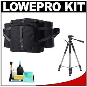 Lowepro Outback 300 AW (Black) Digital SLR Camera Beltpack Bag/Case + Tripod + Accessory Kit for Canon EOS 6D, 5D Mark II III, Rebel T3, T4i, T5i, Sl1, Nikon D3100, D3200, D5100, D5200, D7000, D7100, D600, D800, Sony Alpha A57, A65, A77, A99 DSLR Cameras