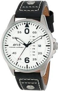 """AVI-8 Men's AV-4003-01 """"Hawker Harrier II"""" Stainless Steel Watch with Black Leather Strap"""