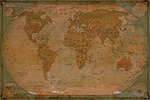 Mappa del mondo atlante globo - mappa storica del mondo FOTOMURALE - vintage retrò motivo - XXL mappe del mondo quadro da parete /decorazione da parete - old age world map 140 cm x 100 cm