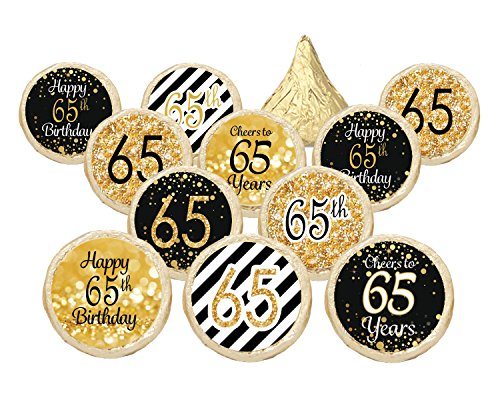 65th Birthday Party Decorations - Gold & Black - Stickers for Hershey Kisses (Set of 324) (65 Birthday Party Supplies compare prices)