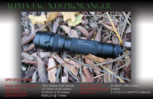 Extremebeam Tac Xt8-M Pro-Ranger High-Output Precision Led Tactical Flashlight (8,500 Lux)