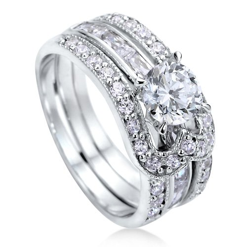 Sterling Silver 925 Round Cubic Zirconia CZ Solitaire Insert Ring Set - Nickel Free Engagement Wedding Ring Set Size 6