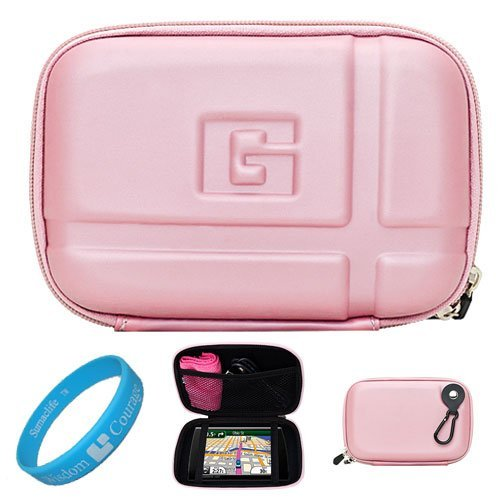 Pink EVA Durable 5.2-inch Protective GPS Carrying Case with Removable Carbineer for Garmin dezl 50LM/50 / 2450 / 1450NOH / 2460LT 5 inch Portable GPS Navigation System + SumacLife TM Wisdom Courage Wristband