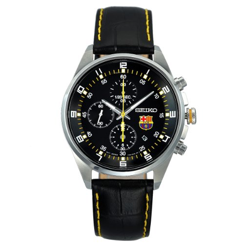 Seiko F.C Barcelona Chronograph Black Dial Leather Mens Watch SNDD25