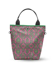 Atrangee Pink Damask Royale Tall Tote Bag (Green & Green)