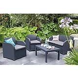 Keter Allibert Carolina Lounge Set - Graphite with Grey Cushions