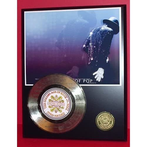 MICHAEL JACKSON LASER ETCHED WITH SONG LYRICS GOLD RECORD LIMITED EDITION DISPLAY
