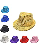 HuntGold 1X Sequin Design Child Kids Fedora Panama Hat Party Paillette Summer Cap Round Hat(red)