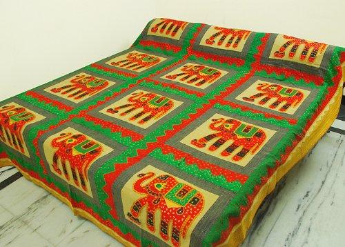 Indian tamaño doble Colcha de algodón con Elephant & Patch Tamaño de la rosca de trabajo 108 x 88 pulgadas