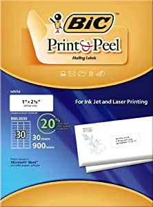 "BIC Print & Peel Mailing Labels - 1"" x 2 5/8"" - 30 labels per sheet / 30 sheets per package (whi)"