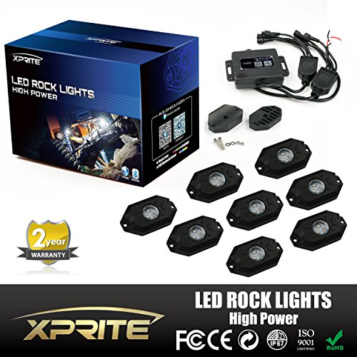 Xprite 3rd-Gen 8 Pods Multicolor Neon LED Light Kit RGB LED Rock Lights with Bluetooth Controller For Timing, Music Mode, Flashing (Auto Crane Remote compare prices)