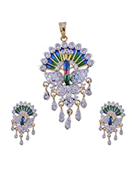 Nimbark Traders Brass And Metal Multi Color Designer Pendent Set With Earrings For Women - B00RFRHAFE