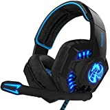 NOSWER Update Version I8 Gaming Headset 3.5mm Wired Stereo LED Lighting Over Ear Headband Headphone With Microphone...