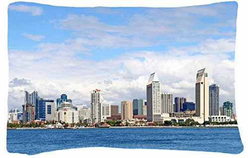 Microfiber Peach Queen Size Decorative Pillowcase -Cities Travel San Diego Wallpaper front-707448