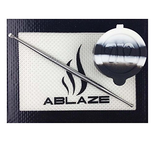 ABLAZE Black Dab Nonstick Non Stick Oil Wax Silicone Mat Pad Container Jar Tool Kit 710