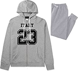 Country Of Italy 23 Team Sport Jersey Sweat Suit Sweatpants XX-Large Grey