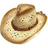 Western Style Crochet Shapeable Cowboy Ladies Straw hat with Beaded Strap