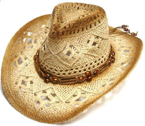 Discount 4 Pcs Wholesale Lots Ladies Womans Cap Medium Brim Crochet Cowboy Straw Hat with Strap